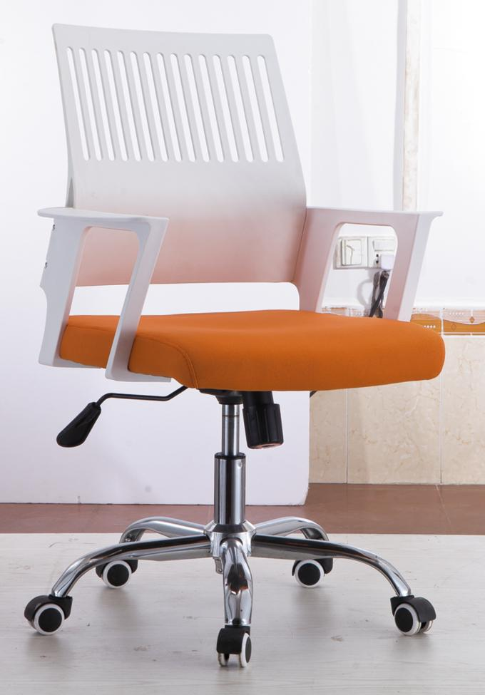 Workstation Mesh Seat Desk Chair , White And Orange Mesh Boardroom Chairs