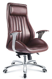 China Executive Style Brown PU Leather Office Chair With Casters High Durability supplier
