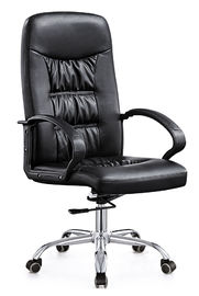 China High End  Leather Rolling Desk Chair , Stationary Swivel Office Chairs With Wheels supplier