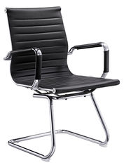 China Black Leather Office Meeting Chairs Mid Back Puncture Proof ISO Approval supplier