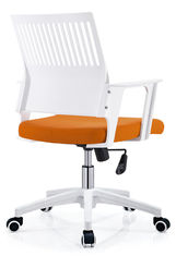 China Workstation Mesh Seat Desk Chair , White And Orange Mesh Boardroom Chairs supplier
