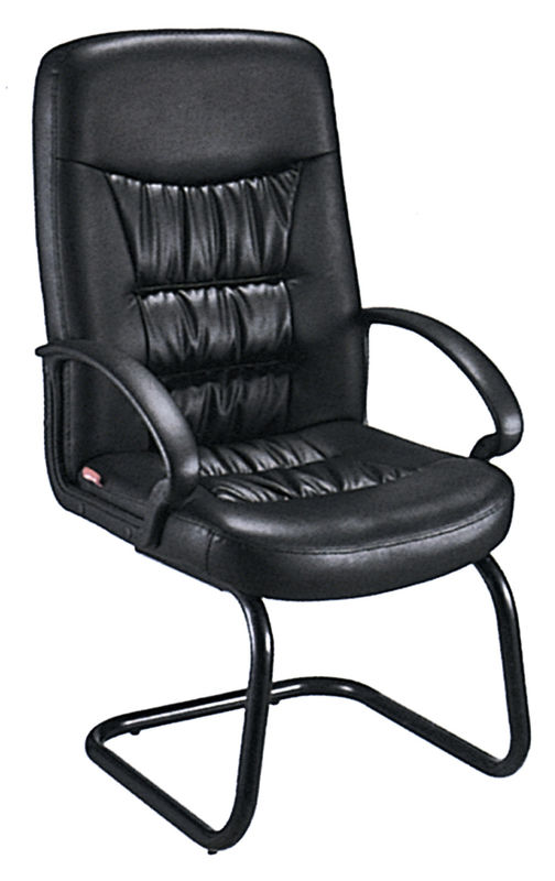 China Comfy Non Swivel Desk Chair , Black Leather Meeting Room Chairs With  Arms Supplier