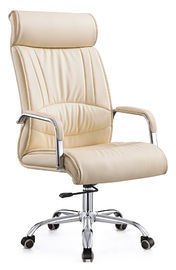 China High Top Cream Padded Computer Chair , Pu Leather Swivel Chair Custom Size factory