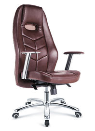 China Dark Brown Executive Leather Desk Chair , Modern Leather Rolling Office Chair factory