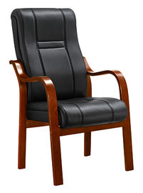 Padded Office Conference Chairs , Luxury Leather Office Chair With Wood Arms