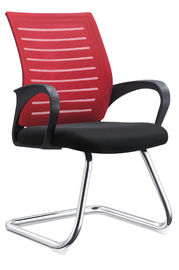 Red PU Leather Conference Chairs , Non Swivel Office Chair Water Resistant
