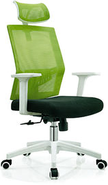 China Contemporary Green High Back Swivel Office Chair With Rollers Metal Foot factory