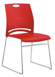 Red PU And PVC Cover Economical Office Chairs Non Rolling OEM & ODM Accepted